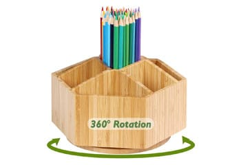 Bamboo Rotating Art Supply Organizer
