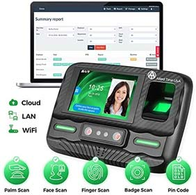 Biometric Employee Time Clock with Online Reporting - Face, Palm, Finger, Badge, WiFi Ready