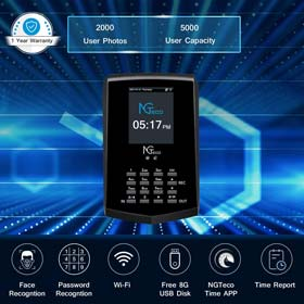 Face Recognition Time Clock, NGTeco Biometric Time Clocks for Employees Small Business In and Out