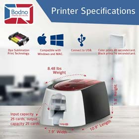 Badgy100 Color Plastic ID Card Printer with Complete Supplies Package