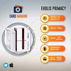 Evolis Primacy Dual Sided ID Card Printer & Supplies Bundle Badge Machine