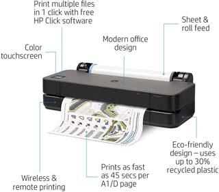 HP DesignJet T210 Large Format Compact Wireless Plotter Printer
