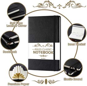 Ruled Notebook Premium Thick Paper Faux Leather Classic Writing Notebook