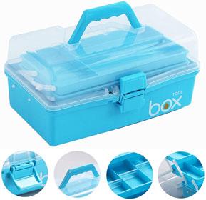 Sunxenze 12'' Three-Layer Clear Plastic Storage Box